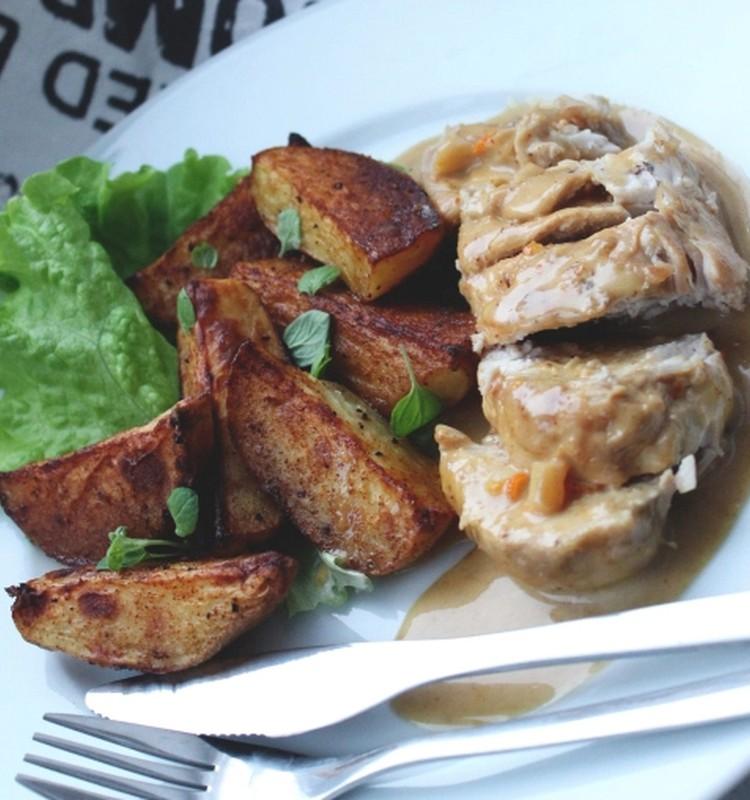 Õhtusöögiidee: Apelsini-ingveri koorekastmes kana kartulisektoritega