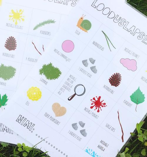 Looduslapse bingo ehk suurepärane õuemäng